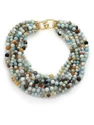 Kenneth Jay Lane Beaded Eight Strand Necklace Gold Multi