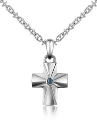 Forzieri Central Sapphire Stainless Steel Cross Pendant Necklace Silver