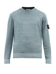 Stone Island Double Knitted Logo Patch Wool Sweater Light Blue