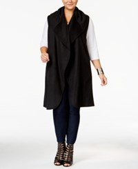 Whitespace Trendy Plus Size Duster Vest Black