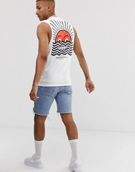 Friend Or Faux Horizon Back Print Sleeveless T Shirt Vest White
