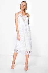 Boohoo Bea Crochet Panelled Midi Skater Dress Ivory