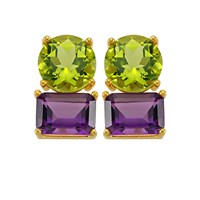 Intua Jewellery 8 Karat Citrine And Rhodolite Earrings 8 Karat Peridot And Amethyst