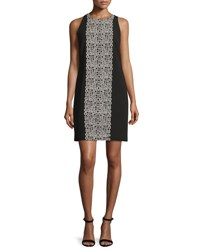 Carmen Marc Valvo Sleeveless Crepe Tile Print Shift Dress Black