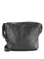 John Varvatos Leather Front Flap Crossbody Bag Black