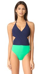 Tory Burch Color Block Wrap One Piece Tory Navy Court Green