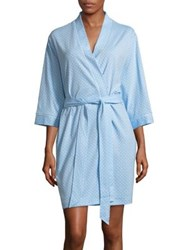 Karen Neuburger Dot Print Quarter Sleeve Robe Blue