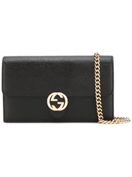 Gucci Interlocking Gg Chain Wallet Women Calf Leather One Size Black