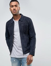 Jack And Jones Vintage Suede Jacket With Patch Pockets Dark Blue
