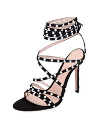 Gianvito Rossi Strappy Suede Sandals With Pearly Details Black