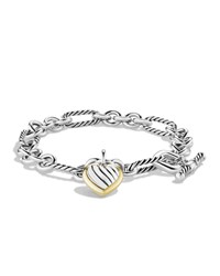 Cable Heart Charm Bracelet With Gold David Yurman