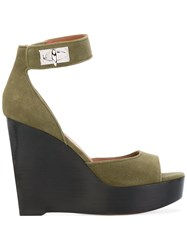 Givenchy High Heel Wedge Sandals Women Leather Suede 36 Green