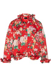Simone Rocha Floral Appliqued Printed Duchesse Satin Jacket Red