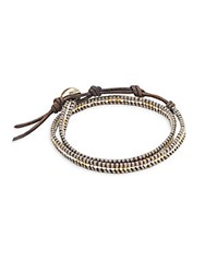 Chan Luu Sterling Silver And Leather Bracelet Grey Mix
