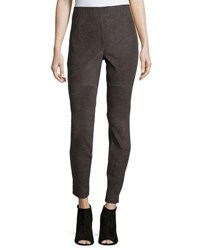 Neiman Marcus Stretch Suede And Ponte Biker Leggings Charcoal