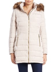 Calvin Klein Faux Fur Trimmed Puffer Coat Winter White