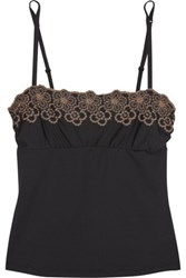 Cosabella Embroidered Stretch Satin Jersey Camisole Black