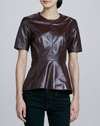 Neiman Marcus Short Sleeve Leather Peplum Top Medium 8 10