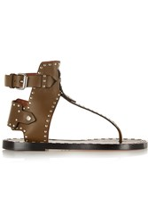 Isabel Marant Johanna Studded Leather Sandals Green