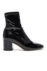 Valentino Patent Leather Booties In Black