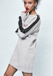 Missguided Londunn Grey Oversized Logo Sleeve Sweater Dress
