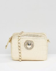 Versace Jeans Moc Croc Cross Body Bag With Chain Strap Oro Gold