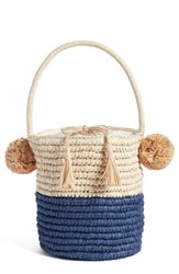 Nordstrom Straw Bucket Bag Brown Nautral Blue