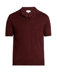 Brioni Knitted Short Sleeved Polo Shirt Burgundy