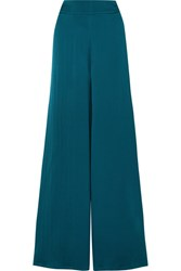Safiyaa Nara Hammered Silk Satin Wide Leg Pants Emerald Gbp