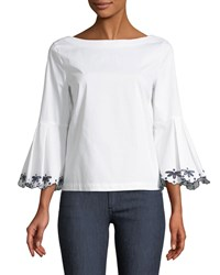 Laundry By Shelli Segal Embroidered Bell Sleeve Blouse White