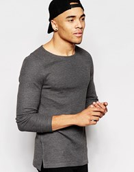 Asos Waffle Jersey Muscle Long Sleeve T Shirt With Boat Neck Grey