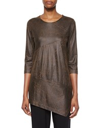 Caroline Rose 3 4 Sleeve Distressed Faux Suede Tunic Petite