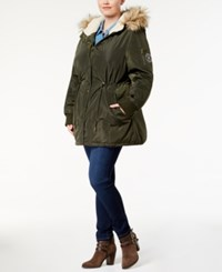 Madden Girl Trendy Plus Size Faux Fur Trim High Low Anorak Olive