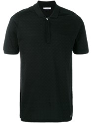 Versace Collection Patterned Polo Shirt Black