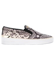 Michael Michael Kors Snakeskin Effect Slip On Sneakers Grey