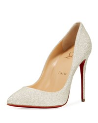 Christian Louboutin Pigalle Follies Glittered Red Sole Pump White