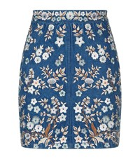 Needle And Thread Embroidered Denim Skirt Female Blue