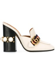 Gucci Gold Buckle Mules Nude Neutrals