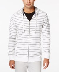 Club Room Men's Striped Zip Front Hoodie Only At Macy's Bright White