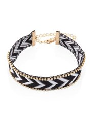 Ettika Crystal Trim Chevron Choker Black Multi