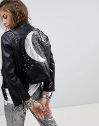Native Rose Faux Leather Biker Jacket With Celestial Back Panel Black
