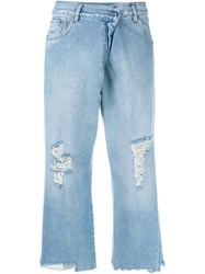 Maison Martin Margiela Mm6 Distressed Cropped Jeans Blue