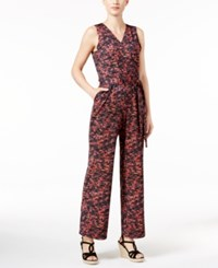 Ny Collection Petite Printed Wide Leg Jumpsuit Abstract S