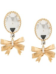 Alessandra Rich Bow Drop Clip On Earrings Gold