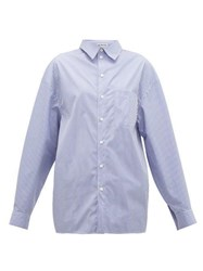 Balenciaga Striped Cotton Shirt Navy White