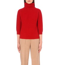 Max Mara Turtleneck Wool And Cashmere Blend Jumper Red