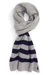 Polo Ralph Lauren Men's Stripe Wool And Cashmere Scarf Winter Grey Hthr French Navy