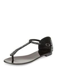 Crystal Suede T Strap Thong Sandal Nero Giuseppe Zanotti