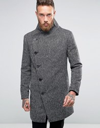 Religion Overcoat With Asymmetric Buttons Blk Wht Black