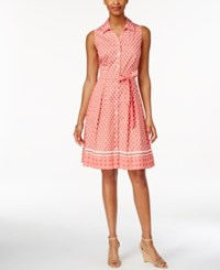 Charter Club Iconic Print Shirtdress Only At Macy's Modern Coral